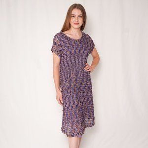 MISSONI Purple Yellow Crochet-Knit Midi Dress
